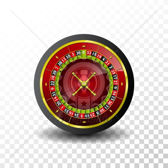 Casino Illustration with roulette wheel on transparent background. Vector gambling design for invitation or promo banner. - Royalty Free Vector Illustration