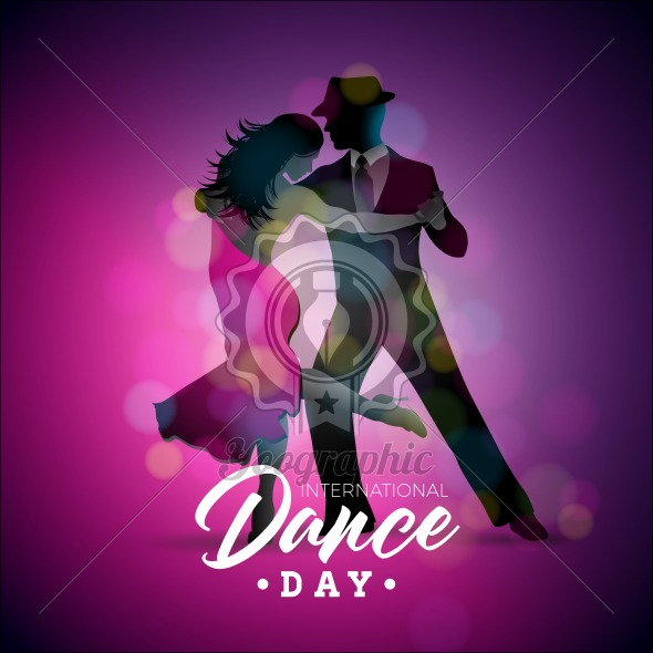 international dance day vector illustration with tango dancing
