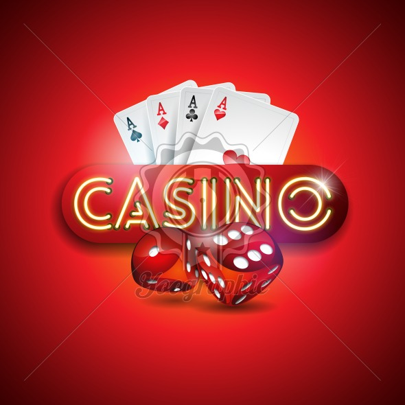 Vector illustration on a casino theme with shiny neon light letter and poker cards on red background. Gambling design for invitation or promo banner with dice. - Royalty Free Vector Illustration
