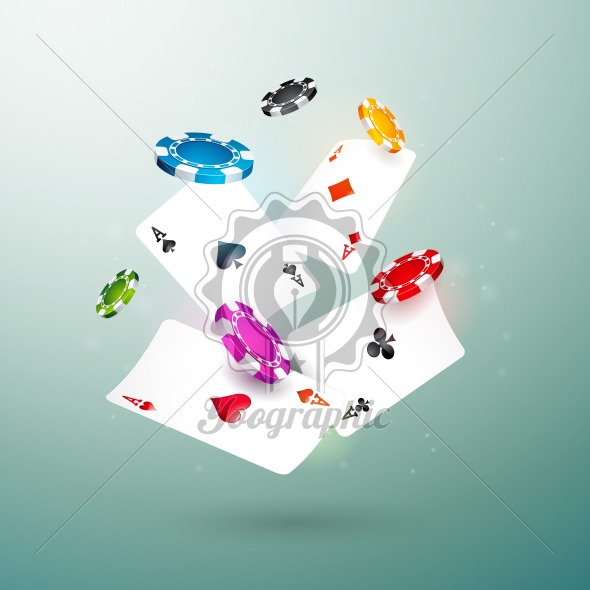 Realistic falling casino chips and poker cards illustration on clean background. Vector gambling concept design. - Royalty Free Vector Illustration