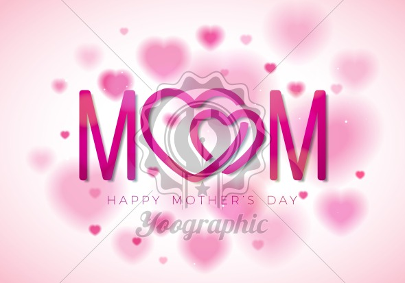 Happy Mothers Day Greeting card illustration with Mom typographic design and hearth symbol on white background. Vector Celebration Illustration template for banner, flyer, invitation, brochure, poster. - Royalty Free Vector Illustration