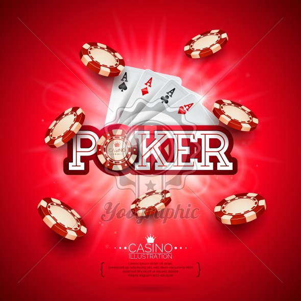 Casino Illustration with poker card and playing chips on red background. Vector gambling design for invitation or promo banner. - Royalty Free Vector Illustration