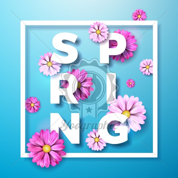 Vector Illustration on a spring nature theme with beautiful colorful flower on blue background. Floral design template with typography letter. - Royalty Free Vector Illustration