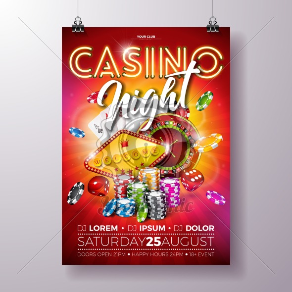 Vector Casino night flyer illustration with roulette wheel and shiny neon light lettering on red background. Luxury gambling invitation poster template design concept. - Royalty Free Vector Illustration