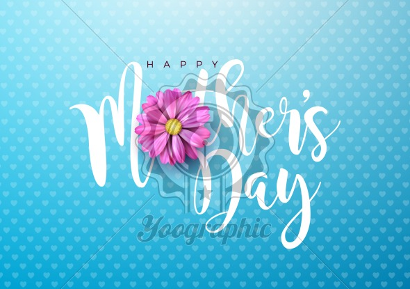 Happy Mothers Day Greeting card illustration with pink flower and typographic design on blue background. Vector Celebration Illustration template for banner, flyer, invitation, brochure, poster. - Royalty Free Vector Illustration