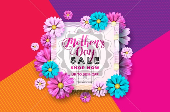 Mothers Day Sale Greeting card design with flower and typographic elements on abstract background. Vector Celebration Illustration template for banner, flyer, coupon, voucher, poster. - Royalty Free Vector Illustration