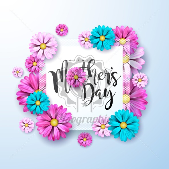 Happy Mothers Day Greeting card with flower on light blue background. Vector Celebration Illustration template with typographic design for banner, flyer, invitation, brochure, poster. - Royalty Free Vector Illustration