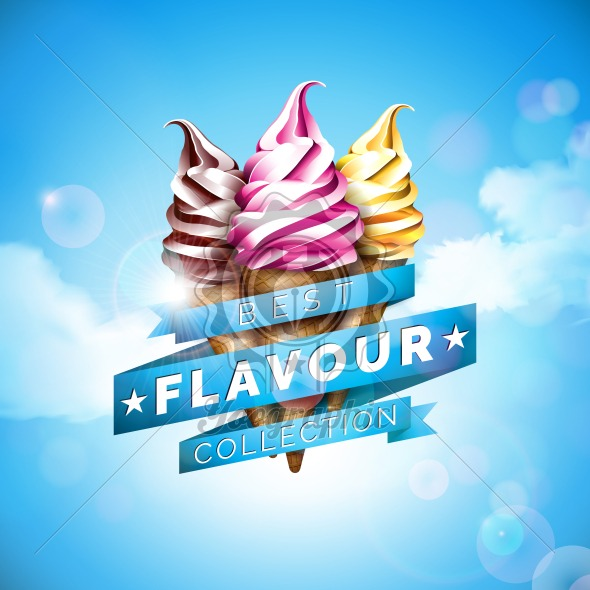 Ice cream illustration with delicious dessert and labelled ribbon on blue sky background. Vector design template for promotional banner or poster with vanilla, chocolate, punch. - Royalty Free Vector Illustration