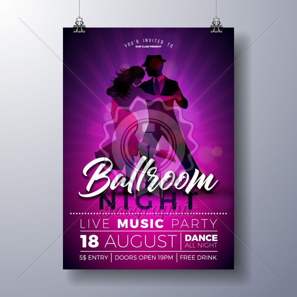 Ballroom Night Party Flyer illustration with couple dancing tango on purple background. Vector design template for invitation poster, promotional banner, brochure, or greeting card. - Royalty Free Vector Illustration