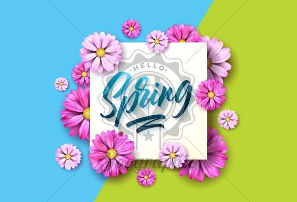 Hello spring nature illustration with beautiful colorful flower on green and blue background. Vector floral design template with typography letter. - Royalty Free Vector Illustration