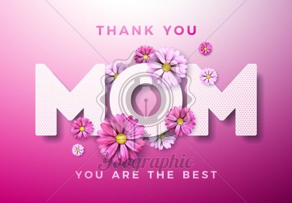 Happy Mothers Day Greeting card design with flower and Thank You Mom typographic elements on pink background. Vector Celebration Illustration template for banner, flyer, invitation, brochure, poster. - Royalty Free Vector Illustration