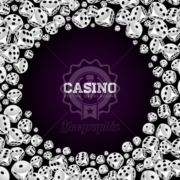Casino illustration with floating dices on white background. Vector gambling isolated design element. - Royalty Free Vector Illustration