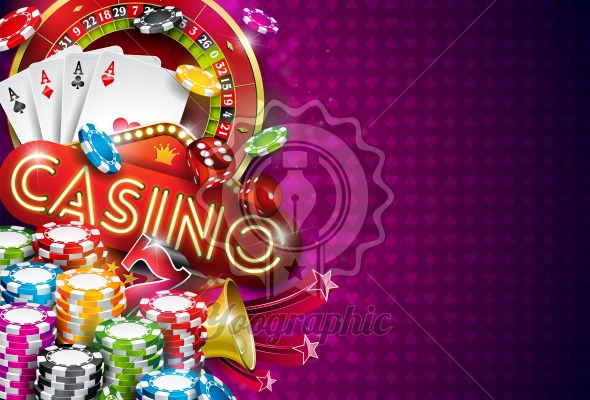 Casino Illustration with roulette wheel and playing chips on violet background. Vector gambling design with poker cards and dices for invitation or promo banner. - Royalty Free Vector Illustration