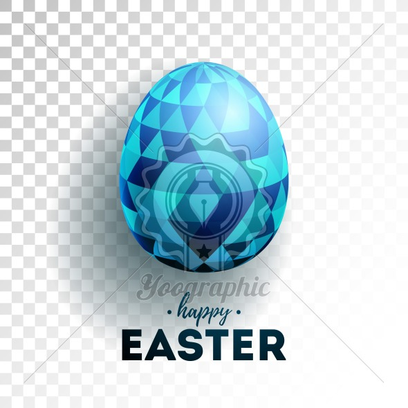 Vector Illustration of Happy Easter Holiday with Painted Egg on Transparent Background. International Celebration Design with Typography for Greeting Card, Party Invitation or Promo Banner. - Royalty Free Vector Illustration