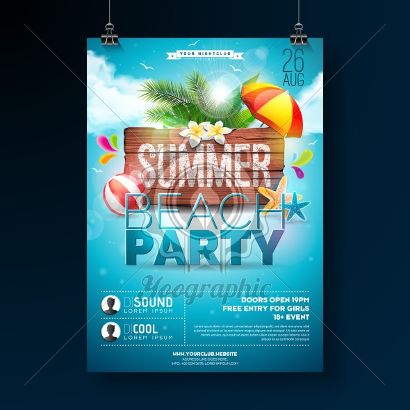 Vector Summer Beach Party Flyer Design with typographic elements on wood texture background. Summer nature floral elements, tropical plants, flower, beach ball and sunshade with blue cloudy sky. Design template for banner, flyer, invitation, poster. - Royalty Free Vector Illustration