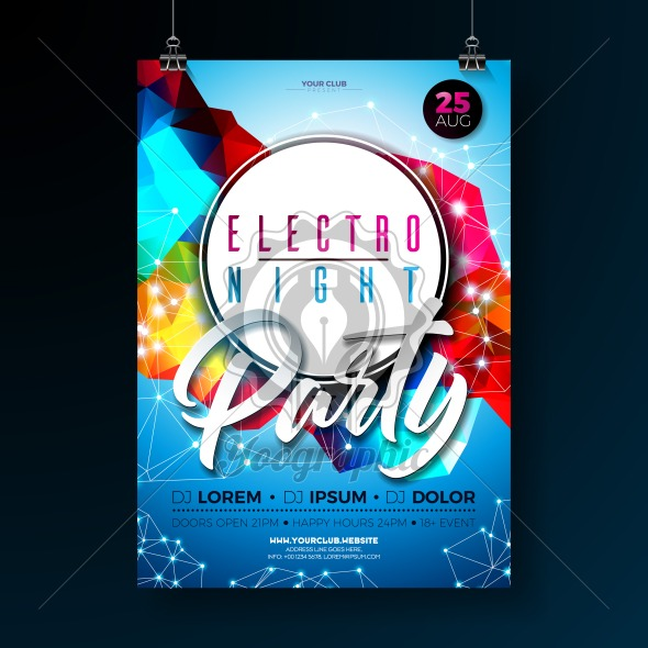 Night dance party poster design with abstract modern geometric shapes on shiny background. Electro style disco club template for abstract music event flyer invitation or promotional banner. - Royalty Free Vector Illustration