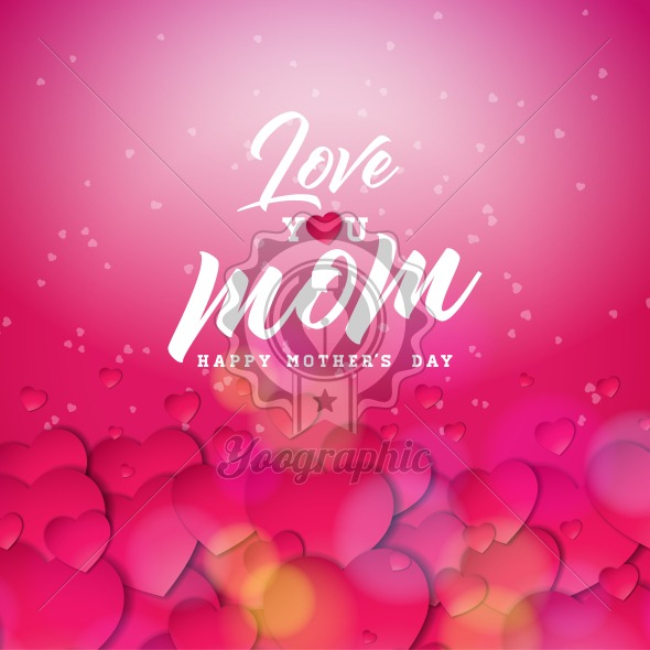 Happy Mothers Day Greeting card design with heart and Love You Mom typographic elements on red background. Vector Celebration Illustration template for banner, flyer, invitation, brochure, poster. - Royalty Free Vector Illustration