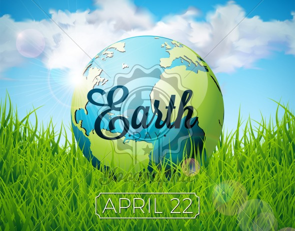 Earth Day illustration with planet and lettering. World map background on april 22 environment concept. Vector design for banner, poster or greeting card. - Royalty Free Vector Illustration