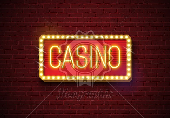 Casino neon sign illustration on brick wall background. Vector light banner or bright signboard design. - Royalty Free Vector Illustration