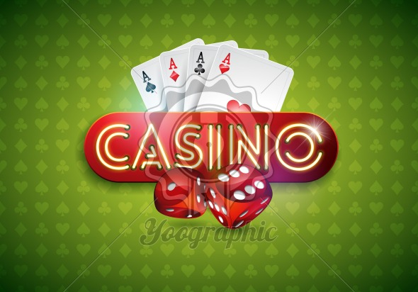 Vector illustration on a casino theme with shiny neon light letter and poker cards on green background. Gambling design for greeting card, poster, invitation or promo banner. - Royalty Free Vector Illustration