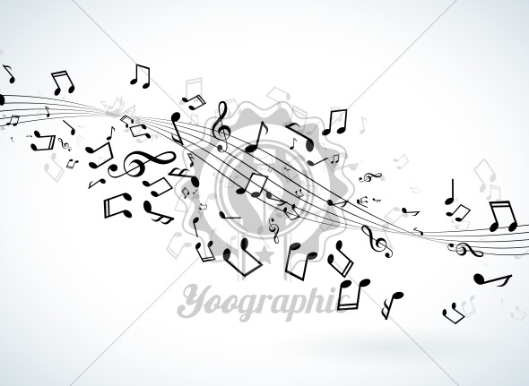 Music illustration with falling notes on white background. Vector design for banner, poster, greeting card. - Royalty Free Vector Illustration
