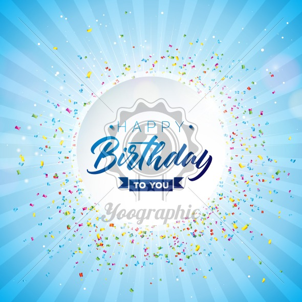Happy Birthday Vector Design with Typography and Falling Confetti on Shiny Blue Background. Illustration for birthday celebration. greeting cards or party poster. - Royalty Free Vector Illustration