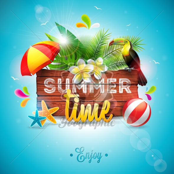 Vector Summer Time Holiday typographic illustration with toucan bird on vintage wood background. Tropical plants, flower, beach ball and sunshade with blue sky. Design template for banner, flyer, invitation, brochure, poster or greeting card. - Royalty Free Vector Illustration