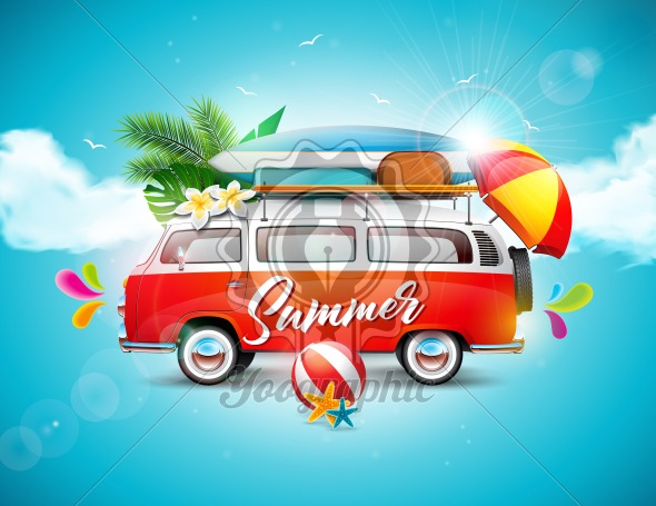 Vector Summer Holiday illustration on blue sky and cloud background. Tropical plants, flower, travel van, surf board and umbrella.. - Royalty Free Vector Illustration