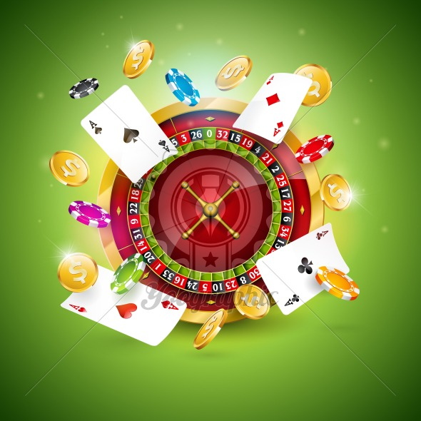 Vector illustration on a casino theme with roulette wheel, poker cards and playing chips on green background. Gambling design for invitation or promo banner. - Royalty Free Vector Illustration