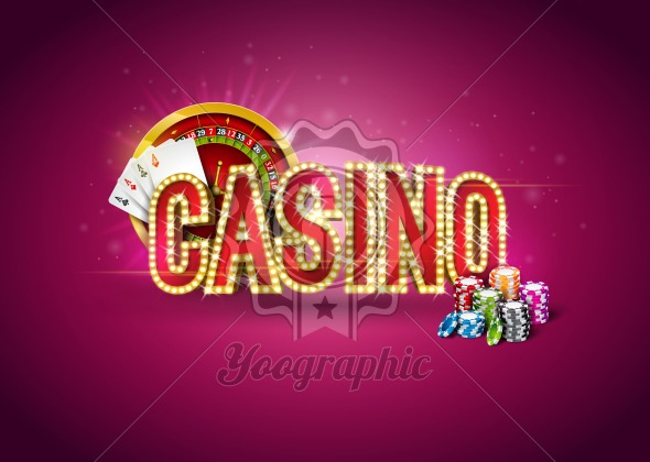 Casino illustration with roulette wheel, poker cards, playing chips and lighting signboard on red background. Gambling design for party poster, greeting card, invitation or promo banner. - Royalty Free Vector Illustration