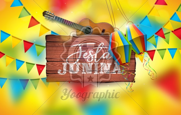 Festa Junina Illustration with Acoustic Guitar, Party Flags and Paper Lantern on Yellow Background. Typography on Vintage Wood Table. Vector Brazil June Festival Design for Greeting Card, Invitation or Holiday Poster. - Royalty Free Vector Illustration