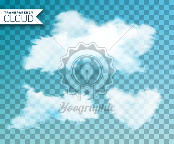 Vector illustration of isolated cloud set on transparent background.. - Royalty Free Vector Illustration