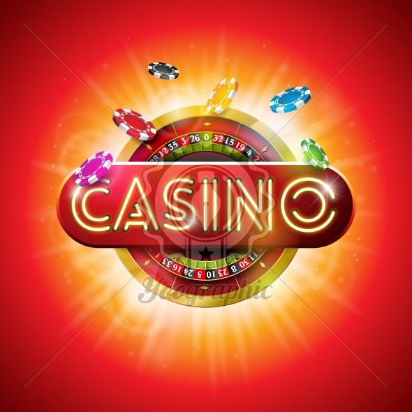 Casino Illustration with shiny neon light letter and roulette wheel on red background. Vector gambling design for party poster, greeting card, invitation or promo banner. - Royalty Free Vector Illustration