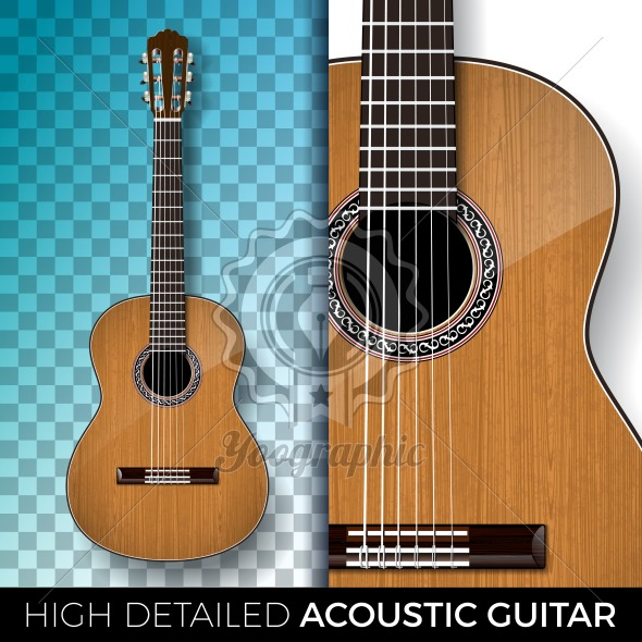 Acoustic guitar isolated on transparent background. High detailed vector illustration for invitation, party poster, promotional banner, brochure, or greeting card. - Royalty Free Vector Illustration
