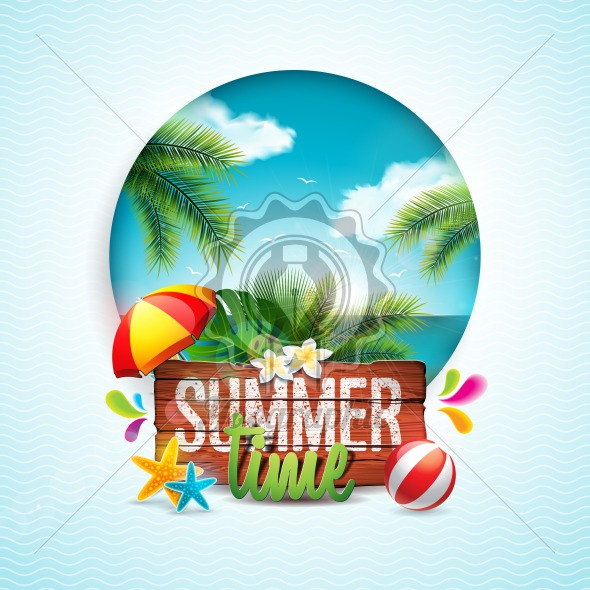 Vector Summer Time Holiday typographic illustration on vintage wood background. Tropical plants, flower, beach ball and sunshade with ocean landscape. Design template for banner, flyer, invitation, brochure, poster or greeting card. - Royalty Free Vector Illustration