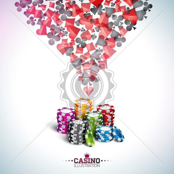 Vector illustration on a casino theme with poker cards and playing chips on white background. Gambling design for invitation or promo banner. - Royalty Free Vector Illustration