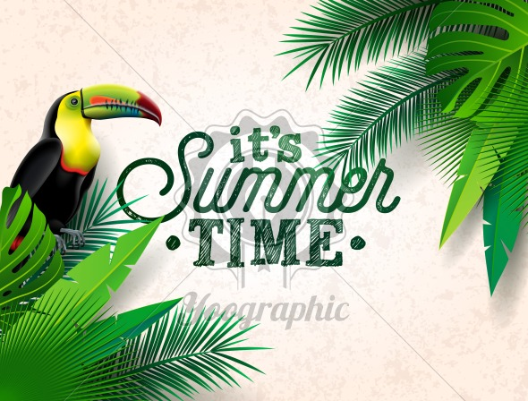 Vector Summer Time Holiday typographic illustration with toucan bird and flower on tropical plants background. Design template with green palm leaf for banner, flyer, invitation, brochure, poster or greeting card. - Royalty Free Vector Illustration