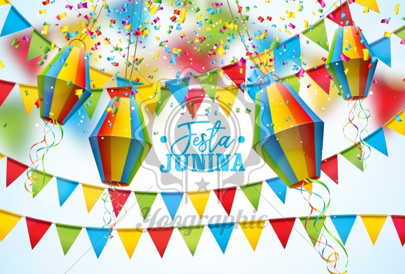 Festa Junina Illustration with Party Flags and Paper Lantern on White Background. Vector Brazil June Festival Design for Greeting Card, Invitation or Holiday Poster. - Royalty Free Vector Illustration