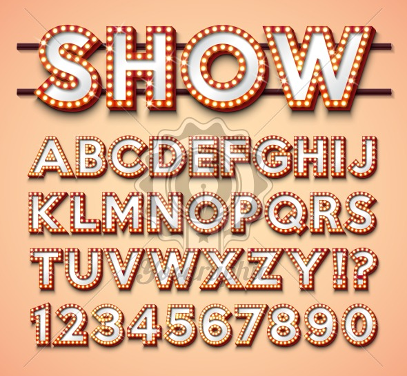 Light Bulb Alphabet with bright red frame and shadow on red backgrond. Glowing retro vector font collection with shiny lights. ABC and number design for casino, night club or cinema. Layered Separated Characters. - Royalty Free Vector Illustration