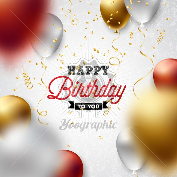 Happy Birthday Vector Design with Balloon, Typography and Falling Confetti on White Background. Illustration for birthday celebration. greeting cards or party poster. - Royalty Free Vector Illustration