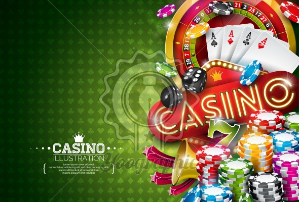 Casino Illustration with roulette wheel and playing chips on green background. Vector gambling design with poker cards and dices for party poster, greeting card, invitation or promo banner. - Royalty Free Vector Illustration