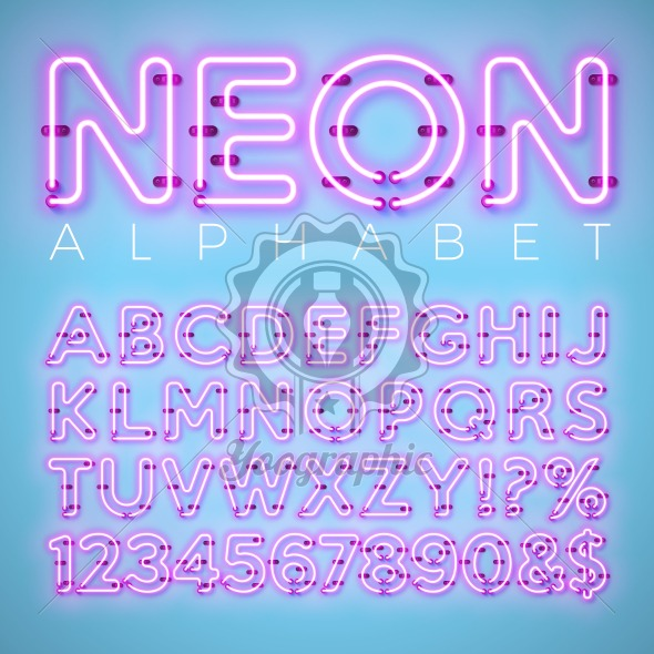 Bright Neon Alphabet on Blue Background. Vector Letter, Number and Symbol with Shiny Glow Effect Layered Separated Characters. Font Design template for Your Text, Decoration, Banner, Flyer or Promotional Party Poster. - Royalty Free Vector Illustration