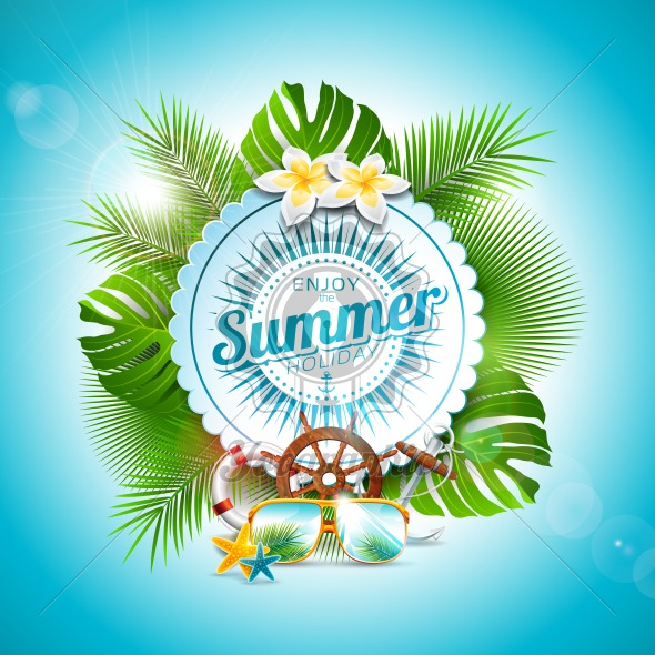 Vector Enjoy the Summer Holiday typographic illustration on white badge and tropical plants background. Flower, sunglasses and marine elements with blue sky. Design template for banner, flyer, invitation, brochure, poster or greeting card. - Royalty Free Vector Illustration