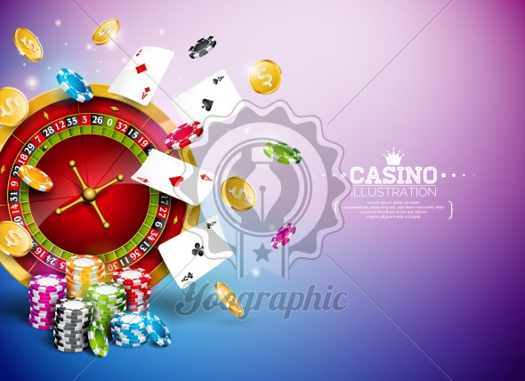 Casino Illustration with roulette wheel, falling gold coins and playing chips on blue background. Vector gambling design with poker cards and dices for party poster, greeting card, invitation or promo banner. - Royalty Free Vector Illustration