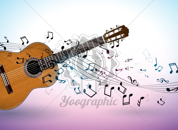 Music banner design with acoustic guitar and falling notes on clean background. Vector illustration template for invitation, party poster, promotional banner, brochure, or greeting card. - Royalty Free Vector Illustration