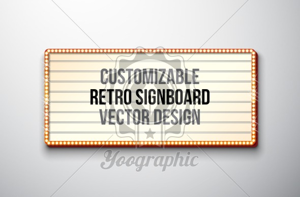 Vector retro signboard or lightbox illustration with customizable design on clean background. Light banner or vintage bright billboard for advertising or your project. Show, night events, cinema or theatre light bulb frame. - Royalty Free Vector Illustration