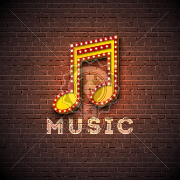 Music illustration with musical note lighting signboard on brick wall background. Vector design for invitation banner, party poster, greeting card. - Royalty Free Vector Illustration