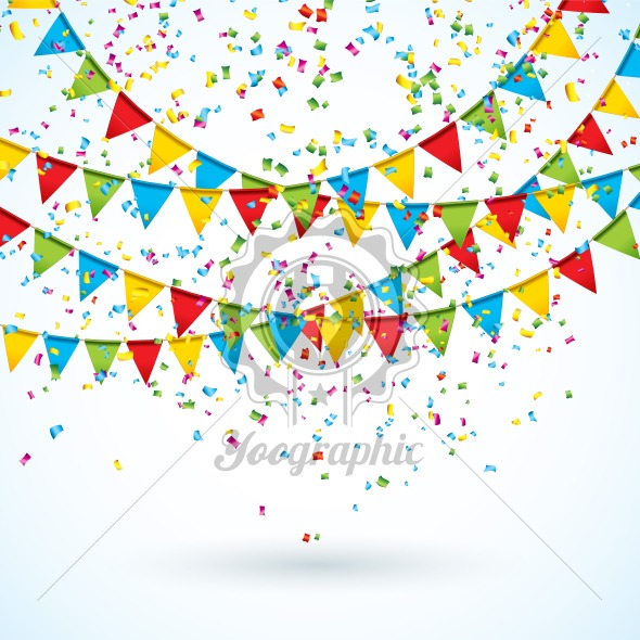 Celebrate Illustration with Party Flags and Falling Confetti on White Background. Vector Holiday Festival Design for Greeting Card, Invitation or Poster. - Royalty Free Vector Illustration
