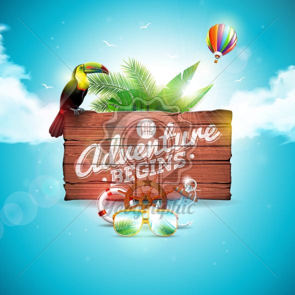 The Adventure begins typographic illustration with toucan bird on vintage wood background. Tropical plants, flower, air balloon, sunglasses and sunshade with blue cloudy sky. Design template for banner, flyer, brochure, poster or greeting card. - Royalty Free Vector Illustration