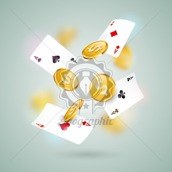 Vector illustration on a casino theme with poker cards and gold coin on clean background. Gambling design for greeting card, poster, invitation or promo banner. - Royalty Free Vector Illustration